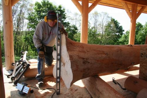 Platteville - The Log Home Guy Prepping a Tree Post
